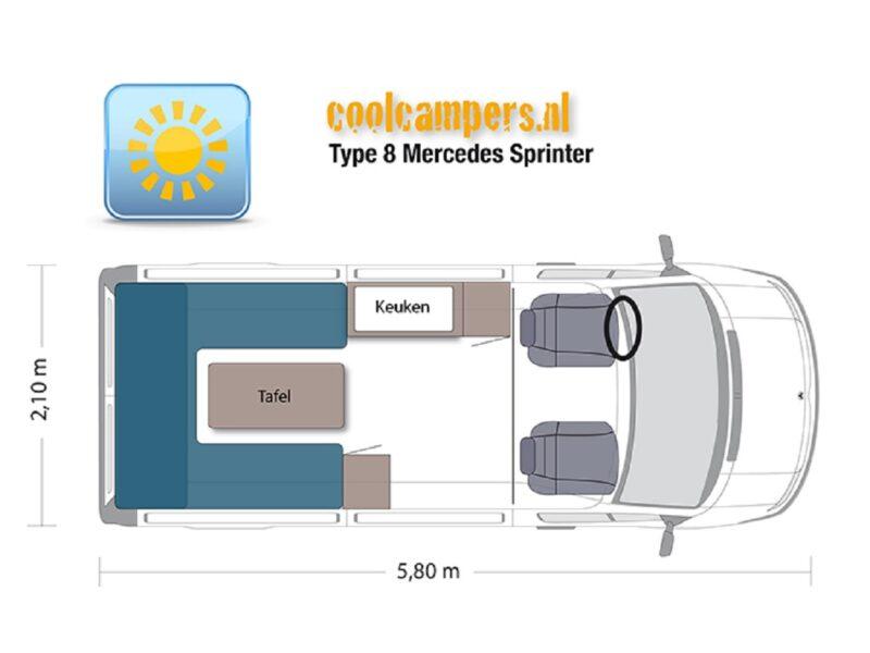 Camper-type-8-automaat-gaspedaal-links-plattegrond-overdag-korting Onbeperkt-leven
